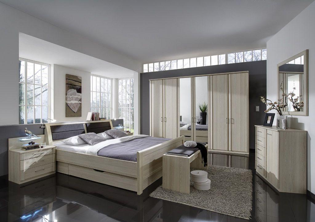 Schlafzimmer Mit Bett 180 X 200 Cm Edel-Esche Nachbildung Woody 138 - komplett schlafzimmer günstig