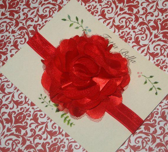 Red Flower headband, cetim e tule Red Puff Flor, Baby Faixa de Cabelo, Criança Faixa de Cabelo, Meninas Faixa de Cabelo, Red Bandana, cabelo do bebê Bow, recém-nascido