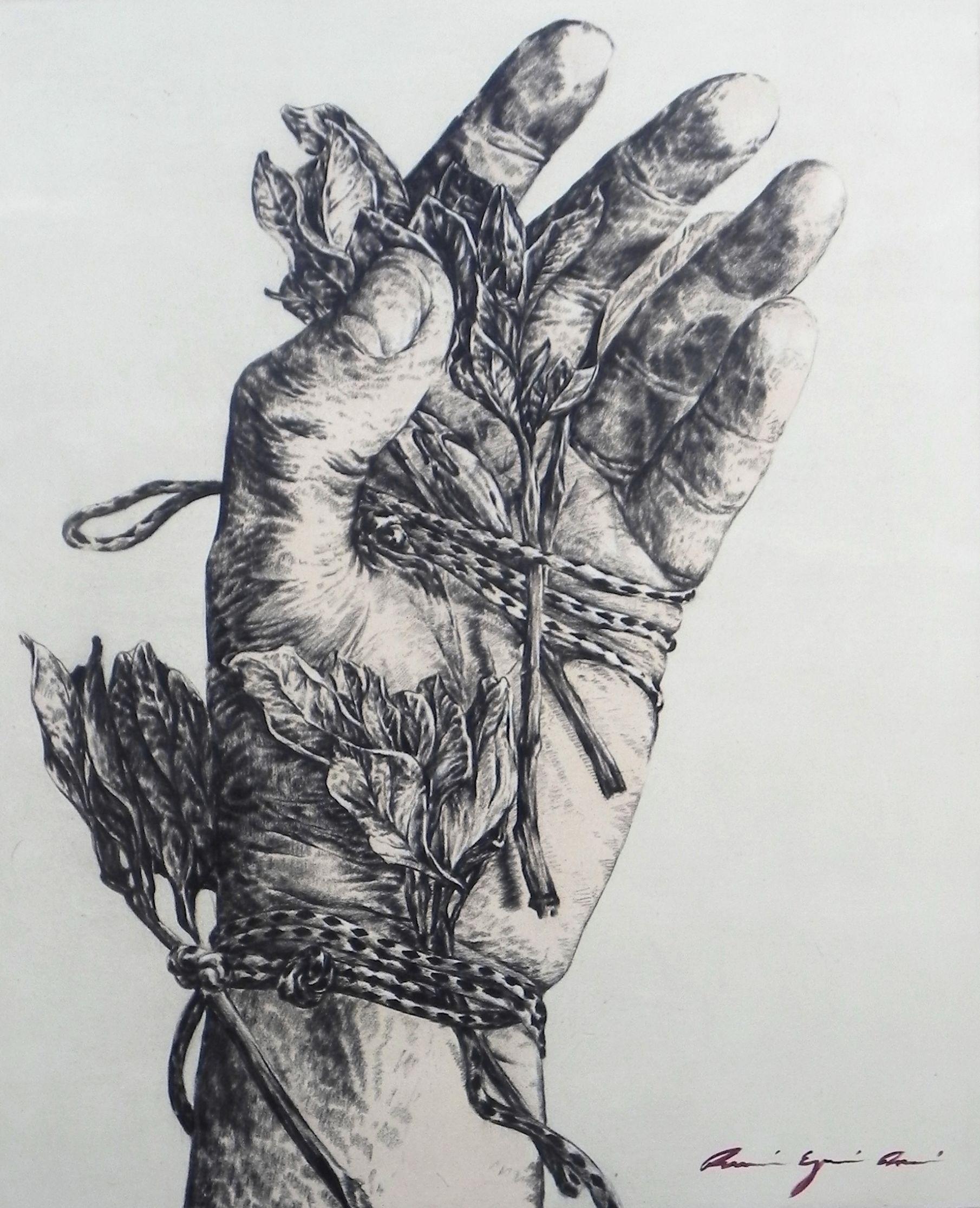 de la serie: Presente Compuesto. Carbón y acrílico sobre tela, 170x140cm. 2013