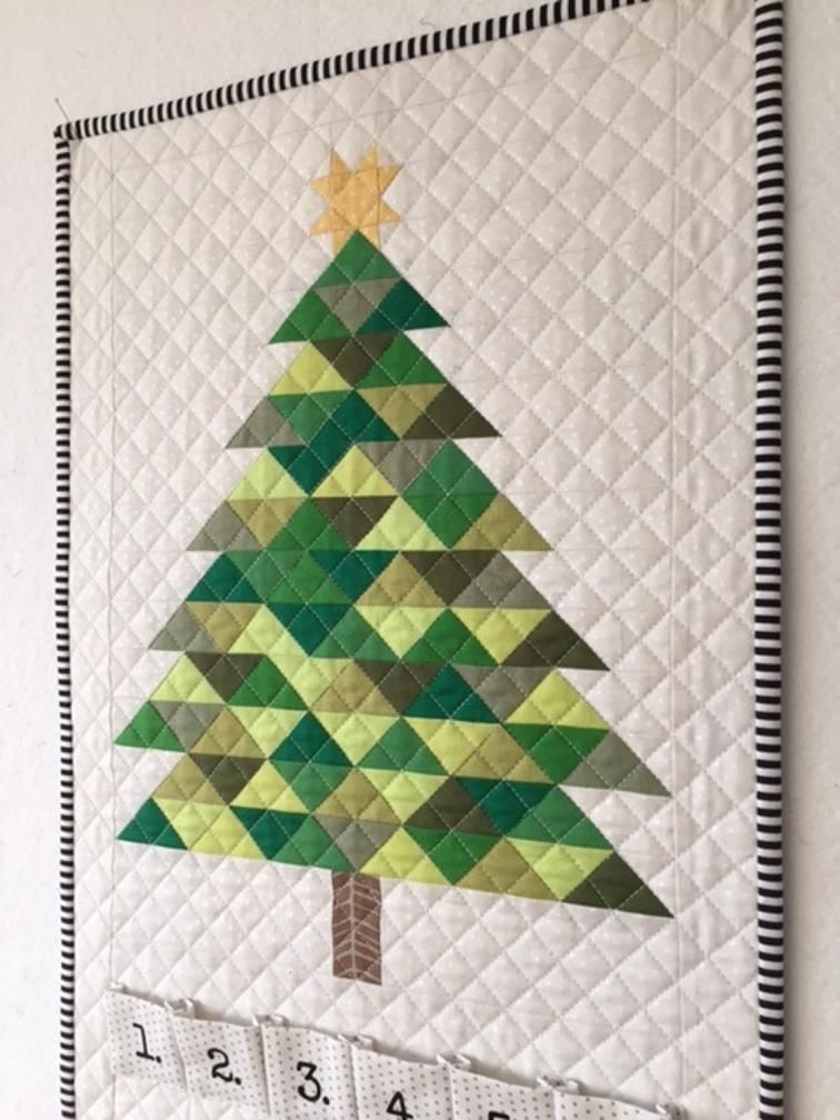 Advent Calendar And Christmas Tree Paper Pieced Craftsy Christmas Tree Quilted Wall Hanging Christmas Quilts Christmas Tree Quilt