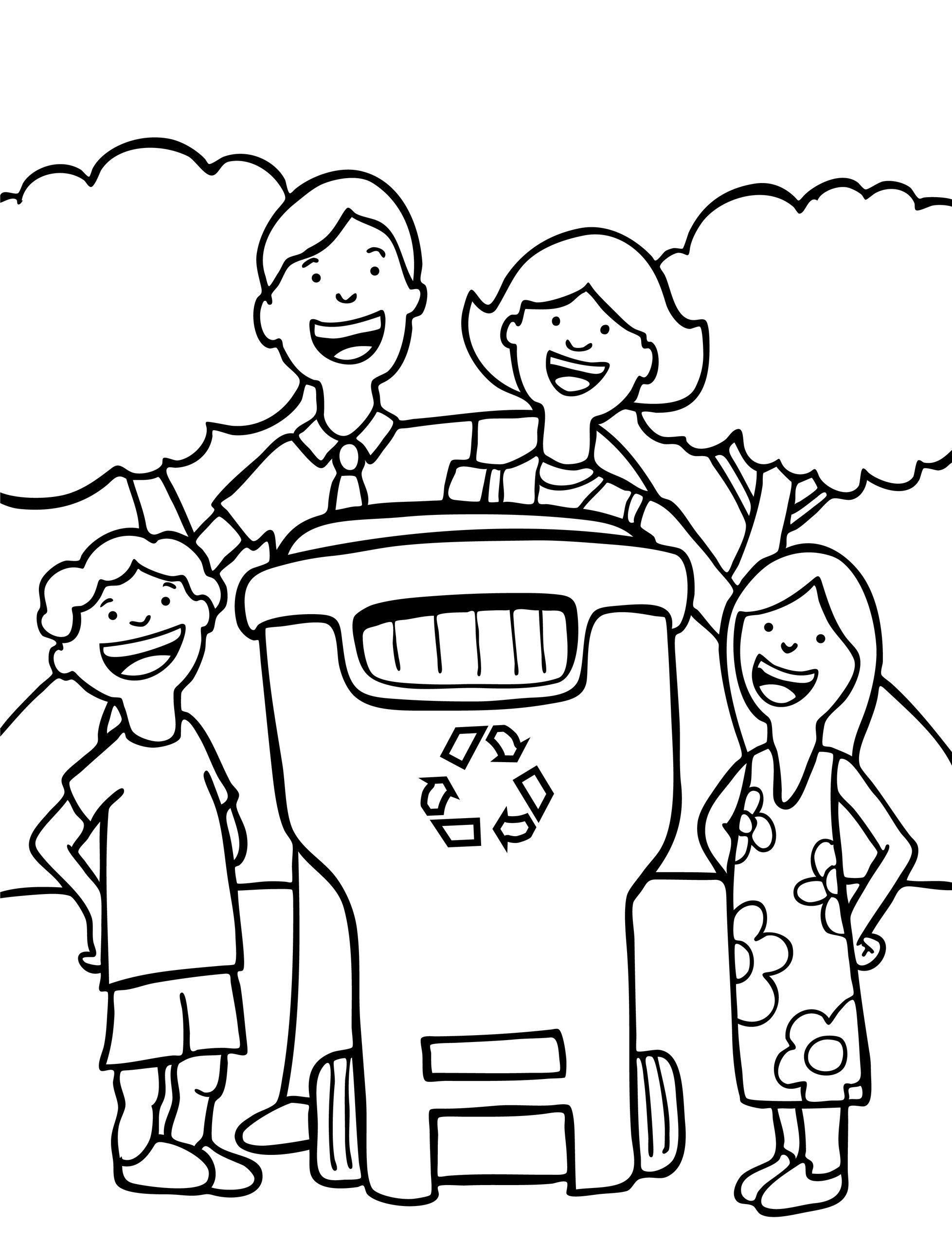 Free Earth Day coloring page for children Lets recycle Earth