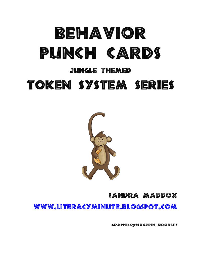 Literacy Minute: Behavior Punch Cards Token System