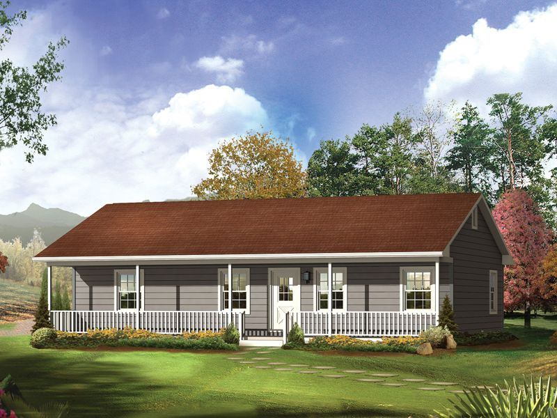 Delta Queen II Country Home Accommodating Ranch Style Home With Front Porch  From Houseplansandmore.com