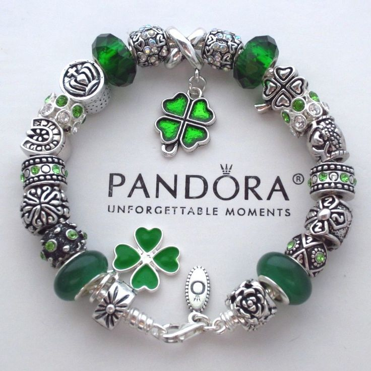 Authentic Pandora Bracelet w/ Green Irish Blessings ~ 4 leaf clover Charm  Beads