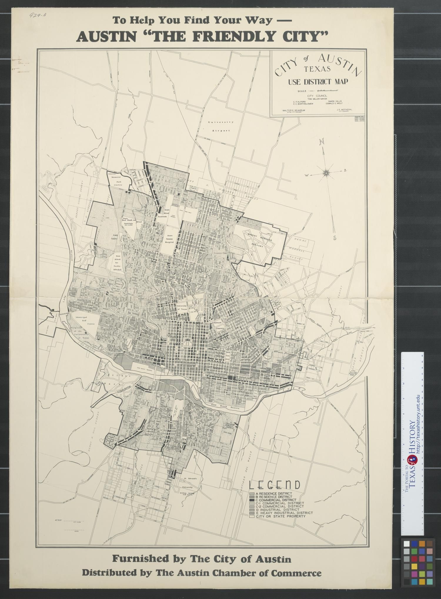 City Of Austin Texas Use District Map Map 1943 Austin Texas Map Texas Austin