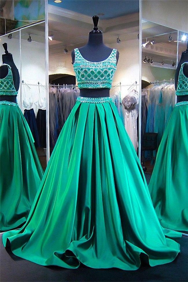 Ball Gown Scoop Neck Two Piece Emerald Green Satin Beaded Prom Dress ...