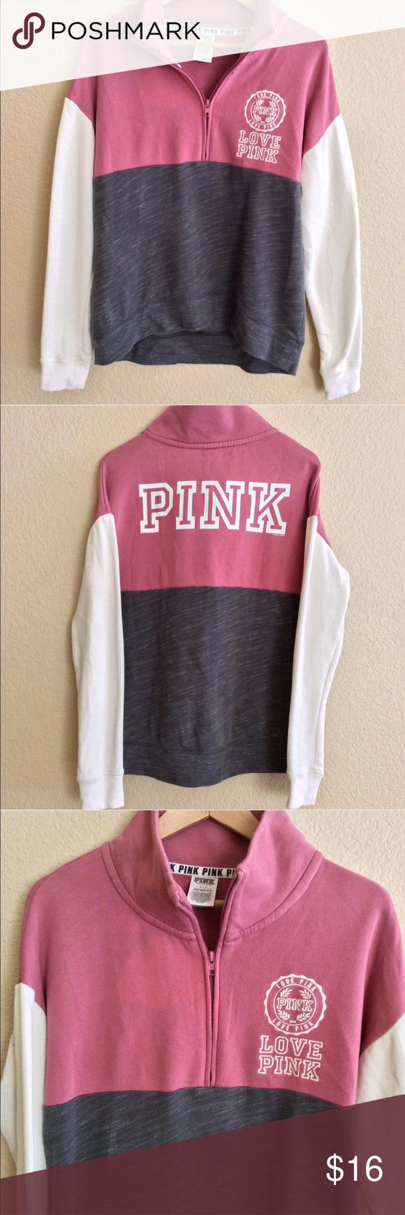 Vs Pink Quarter Half Zip Crew S Vs Pink Victoria Secret Pink Clothes Design [ 1740 x 580 Pixel ]
