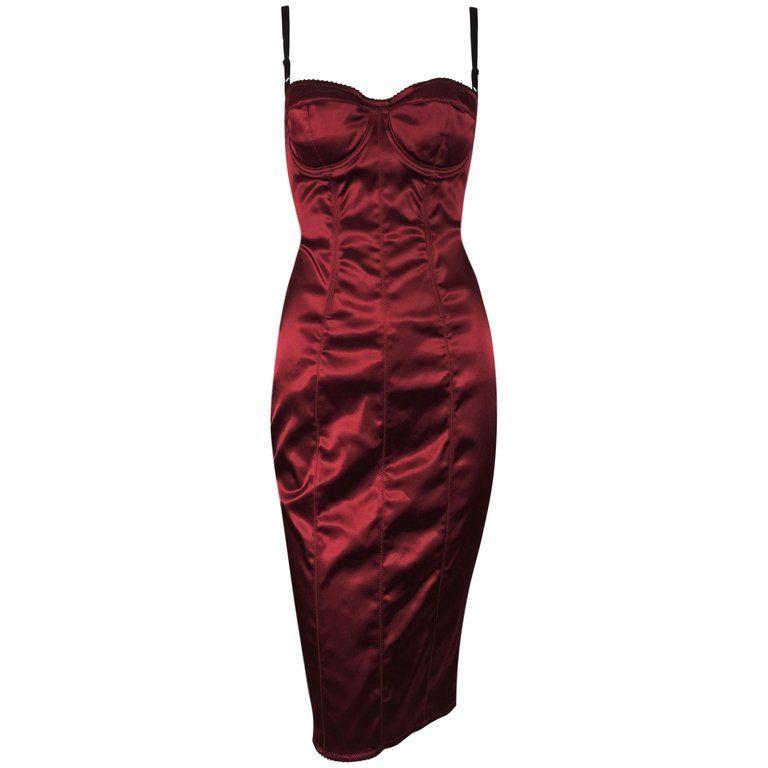 1996 Dolce and Gabbana Metallic Red Corset Wiggle Pin-Up Dress