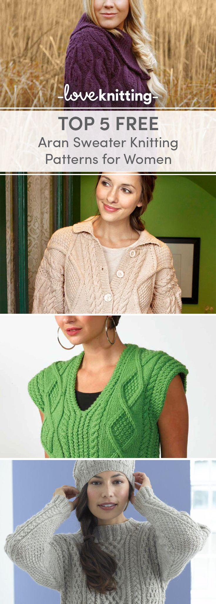 79aed2e1b841 Top 5 Free Aran Knitting Patterns for Women - Jumpers