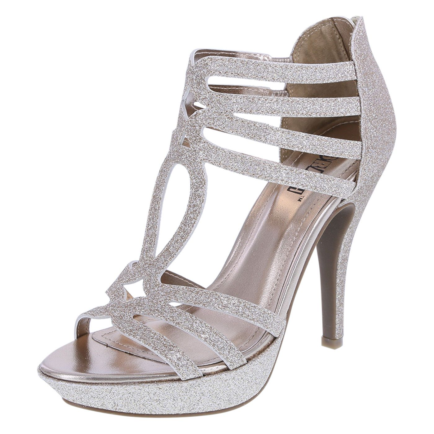 1a2eea4f3c4 Brash Women s SHOES Platform Heel Champagne Silver  Bridal Formal Wedding