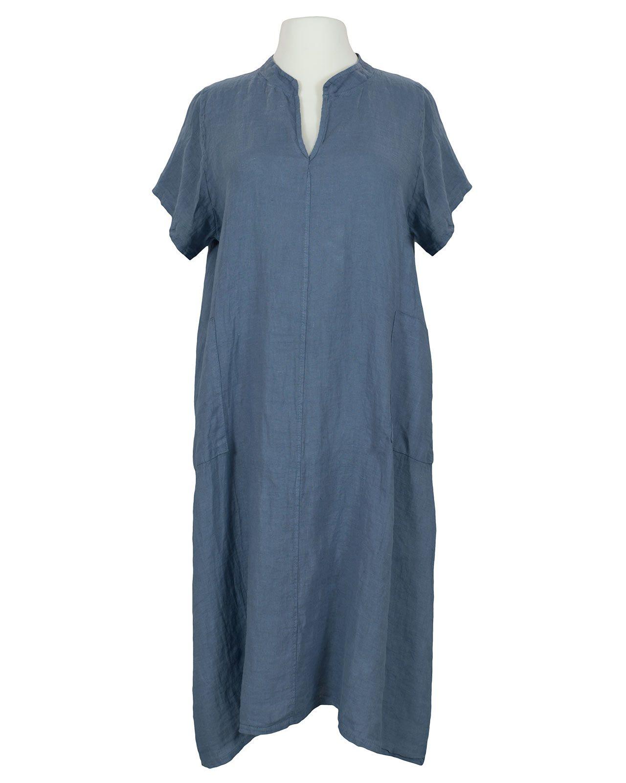 Damen Leinenkleid Stehkragen, jeansblau von Made in Italy ...