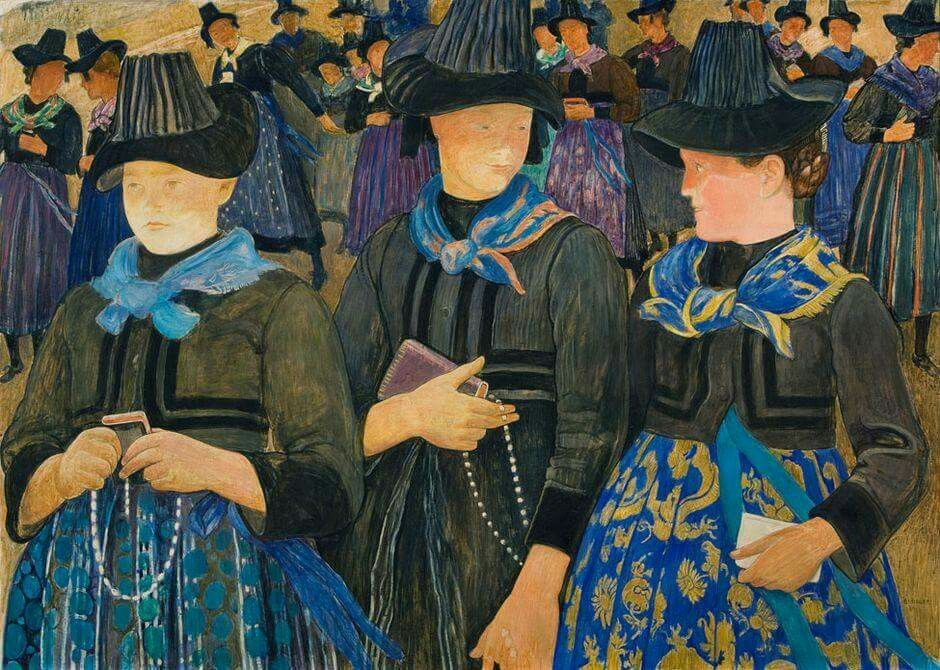 """Ernest Bieler (1863 - 1948) multi-talentoso pintor , dibujante y grabador suizo. Trabajó con todo tipo de medios pictóricos. También creó mosaicos y vidrieras. """" After Mass """"  1937."""