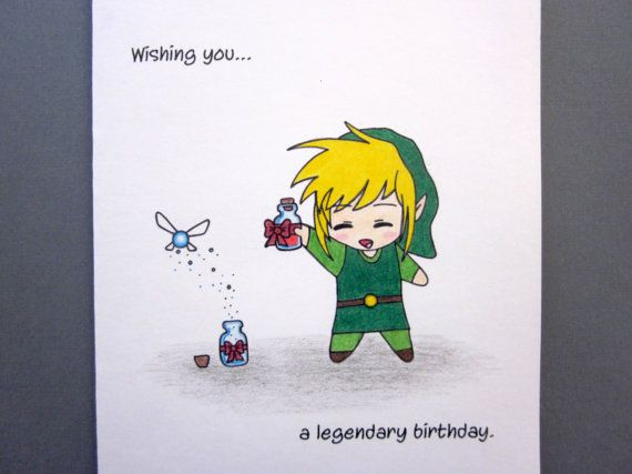 Legendary Birthday Card By Abitofimagination On Etsy Zelda Birthday Birthday Cards Zelda Gifts