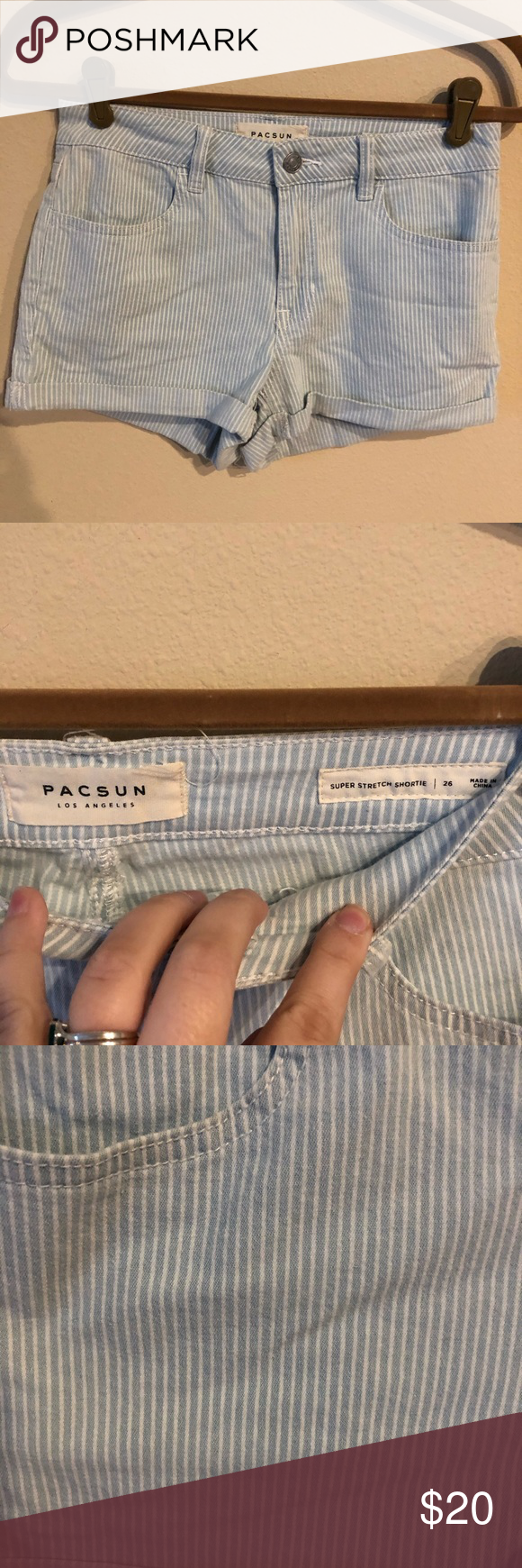 PacSun light blue striped shorts size 26 Super cute, kind of nautical blue and white striped shorts. Cuffed hem. Super stretch shortie. Excellent condition. Size 26. PacSun Shorts #lightblueshorts