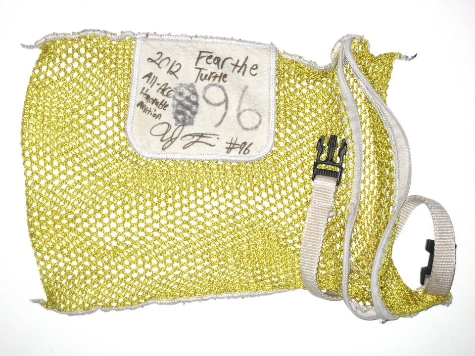 """10e1bb4bd27 AJ Francis Maryland Terrapins  96 Signed """"Fear the Turtle"""" Yellow Mesh  Laundry Bag"""