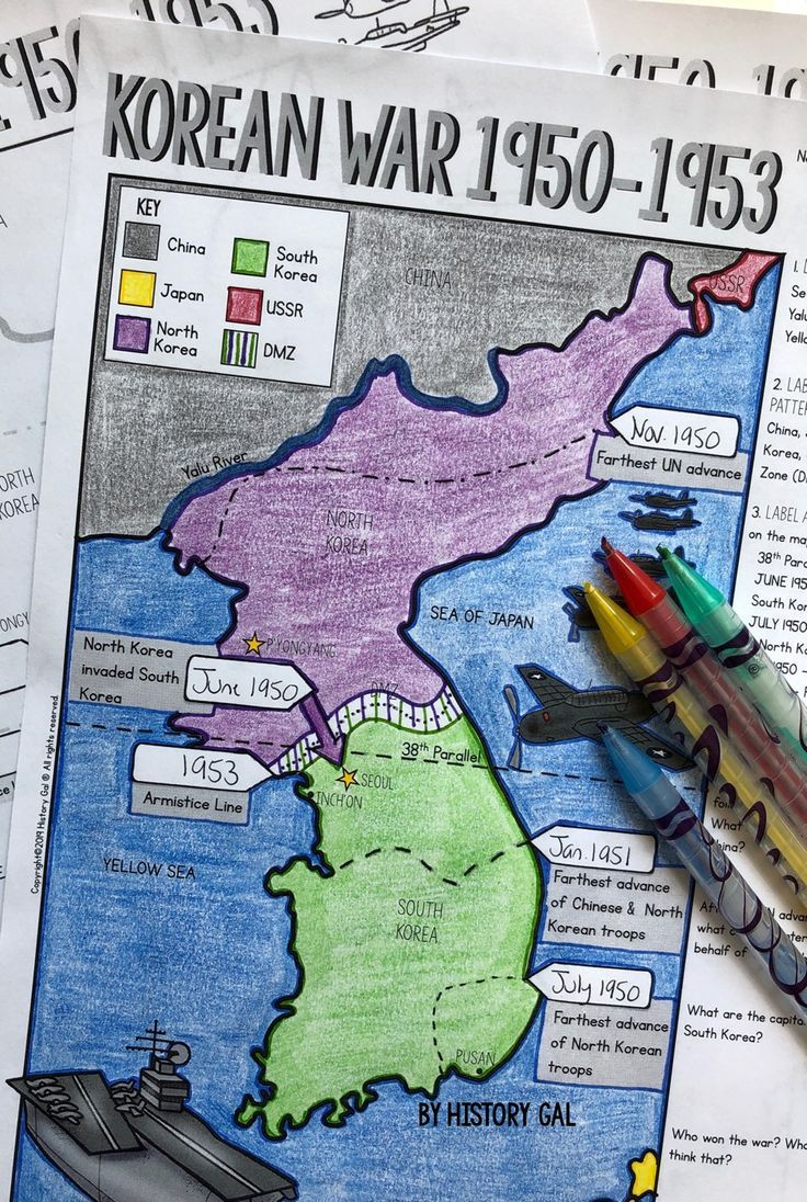 Engage Your World History Students With This Korean War Map Activity From History Gal As Students Label And Color The M Korean War Map Activities Doodle Notes