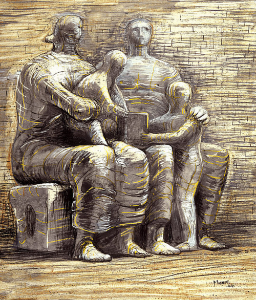 Henry Moore, Family Group, 1944 From the National Galleries of Scotland: | Henry moore drawings, Art, Henry moore