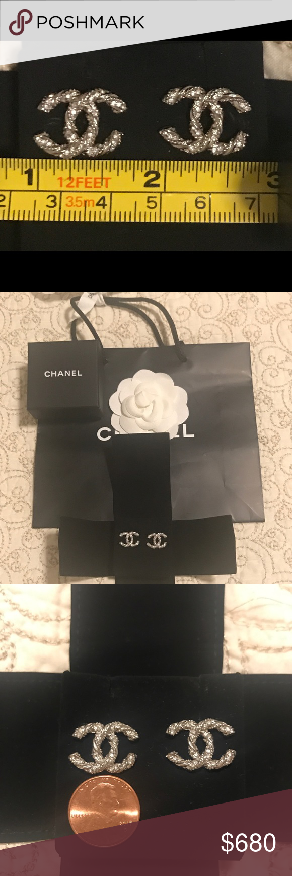Chanel silver twisted crystal cc stud earrings 100