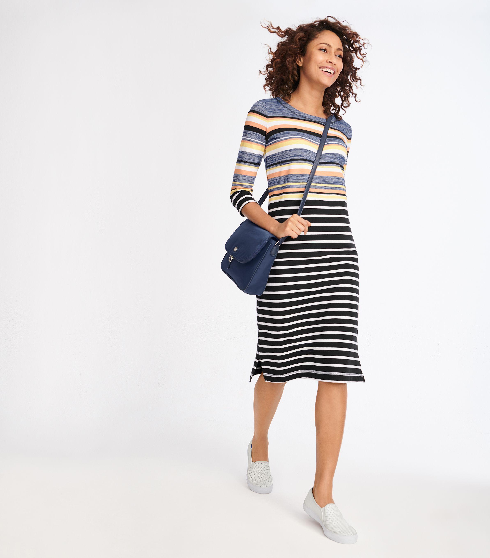 Colorful Multi Stripe Dress Striped Dress Trending Outfits Talbots Dress [ 2717 x 2386 Pixel ]
