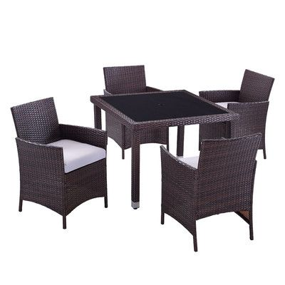 Dhi Aptos 5 Piece Dining Set With Cushion Patio Furniture For Sale Clearance Outdoor Furniture Outdoor Dining Set