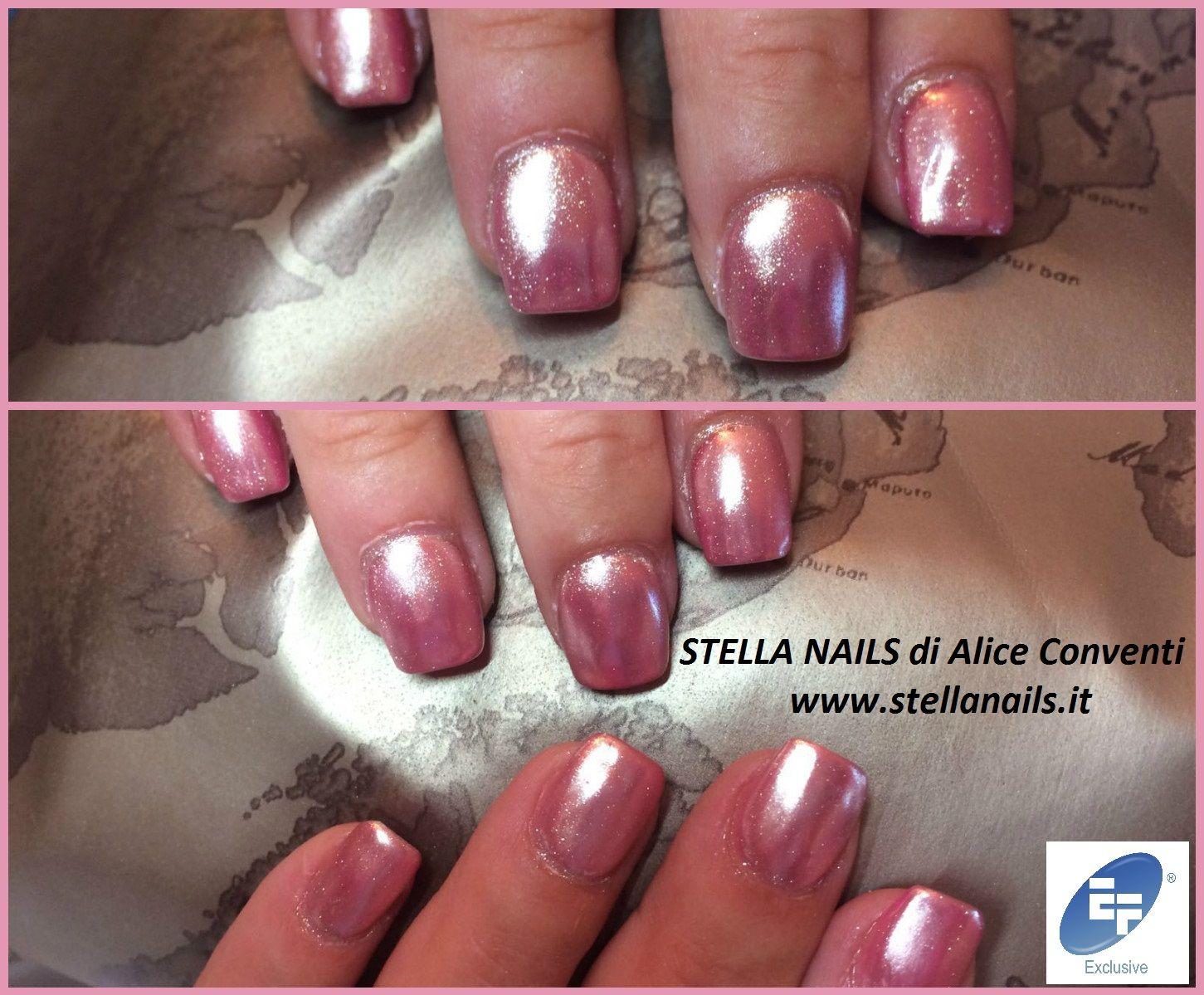 """Mirror Effect Pink by Stella Nails di Alice Conventi Guarda il video """"effetto mirror"""" sul nostro sito"""