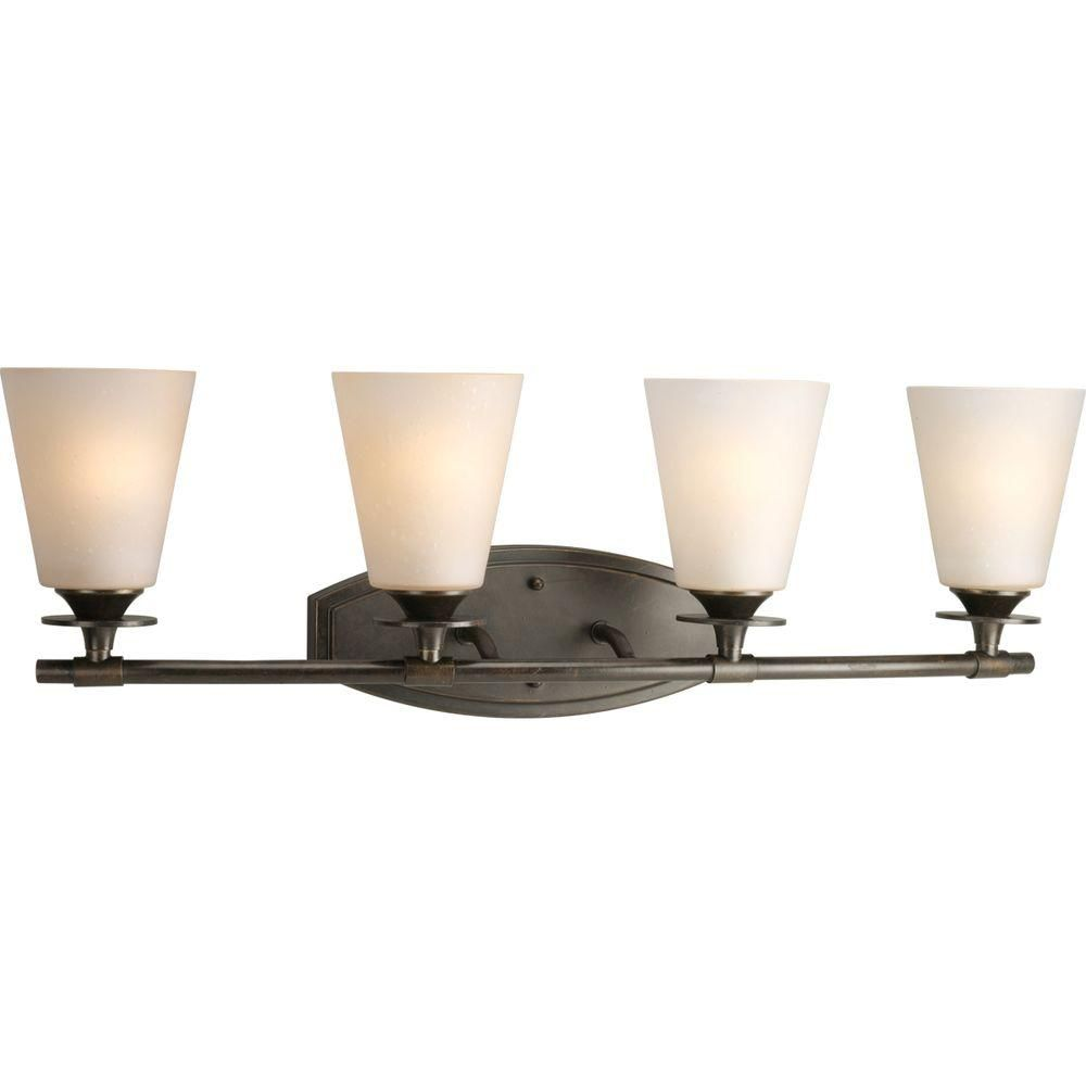 Photo of Progress Lighting Cantata Collection 3-Light Forged Bronze Bathroom Vanity Light with Glass Shades P3248-77 – The Home Depot