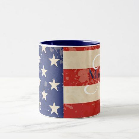 Vintage American Flag Two-Tone Coffee Mug | Zazzle.com #americanflagart Vintage American Flag Two-Tone Coffee Mug #xmas-stocking #ornament #tablecloth #candle #décor #petbowl #coaster #americanflagart