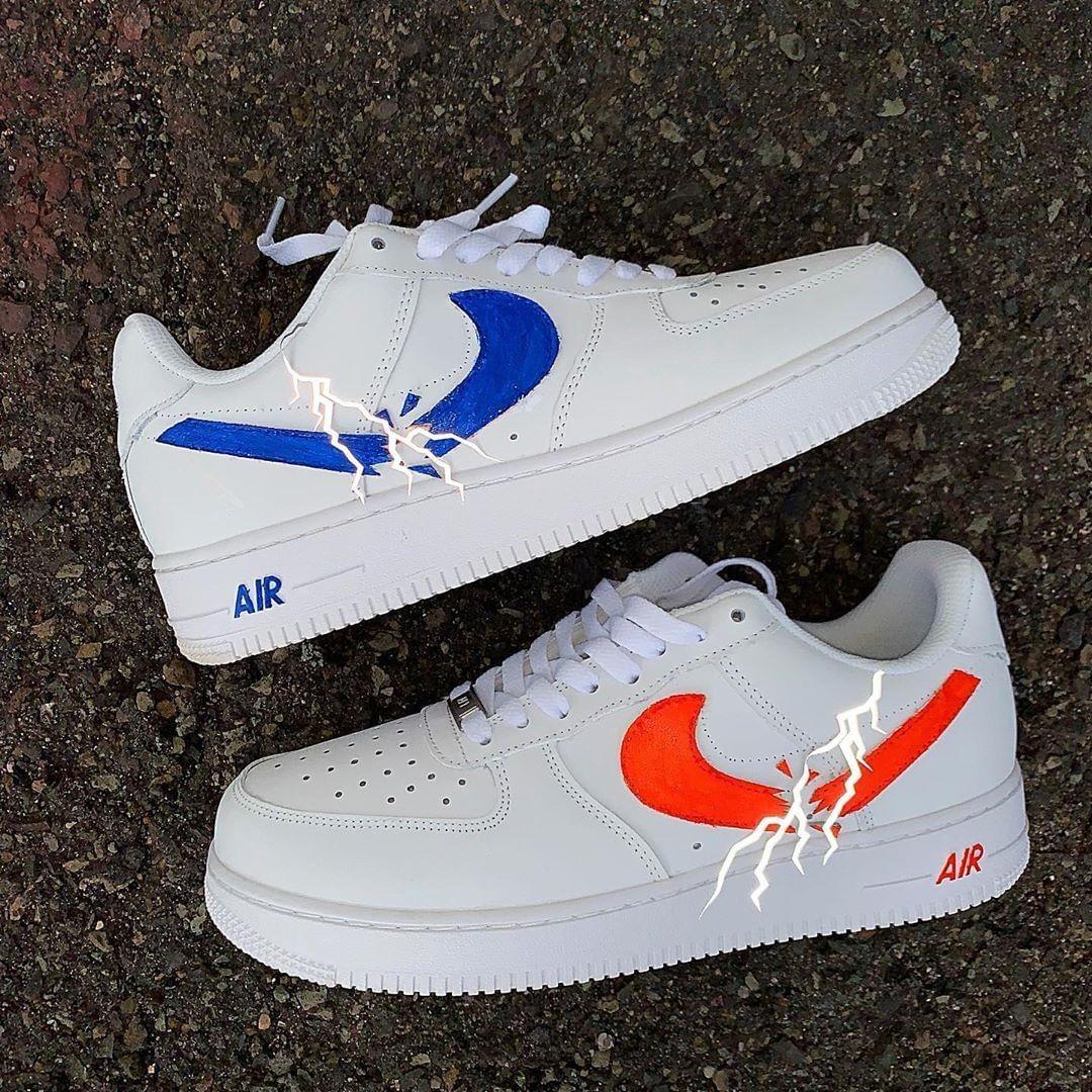 3m Lightning Broken Swoosh Nike Air Force One Custom Sneaker Nike Air Shoes Custom Nike Shoes Hype Shoes