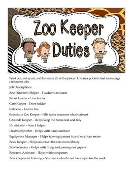 New Zoo Keeper Duties Zoo Themed Classroom Job Chart Now In