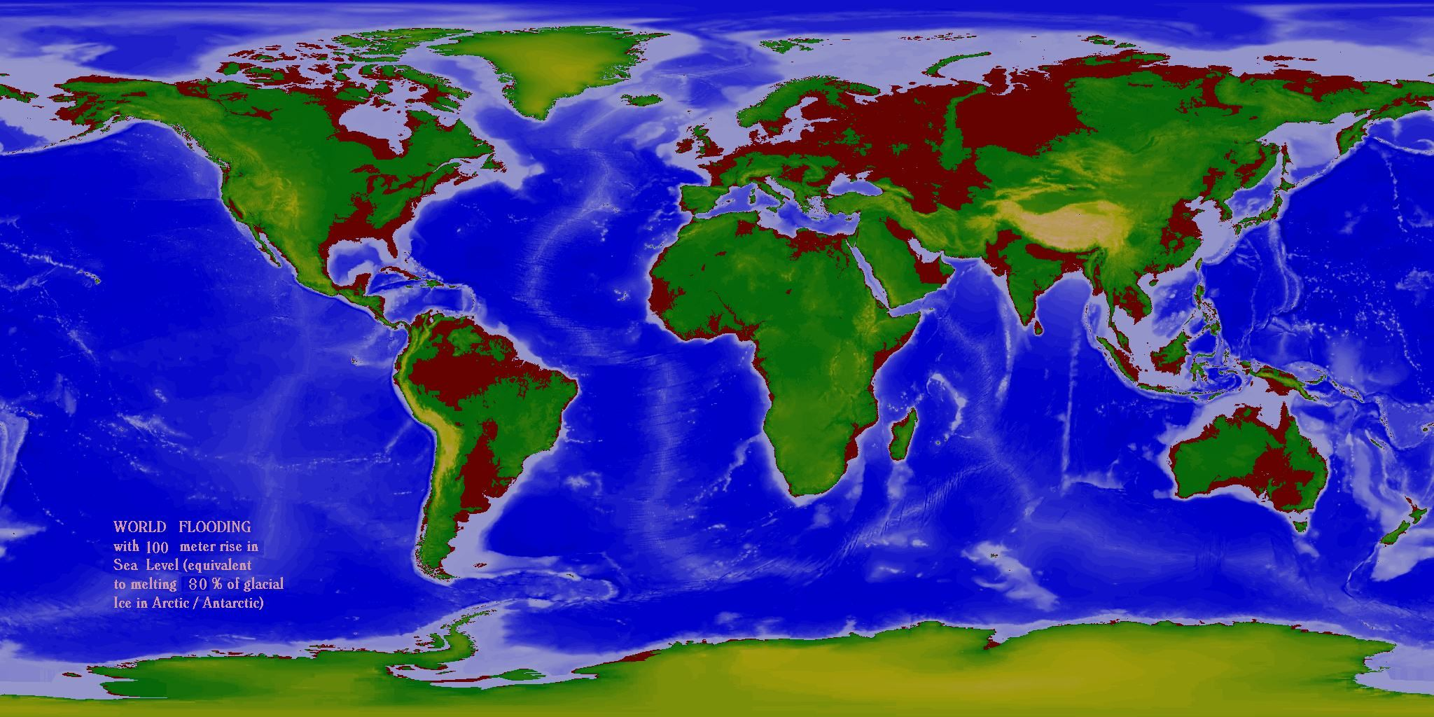 Sea Level Map World Flood Maps   60m & 100m rise in sea level   Old Project