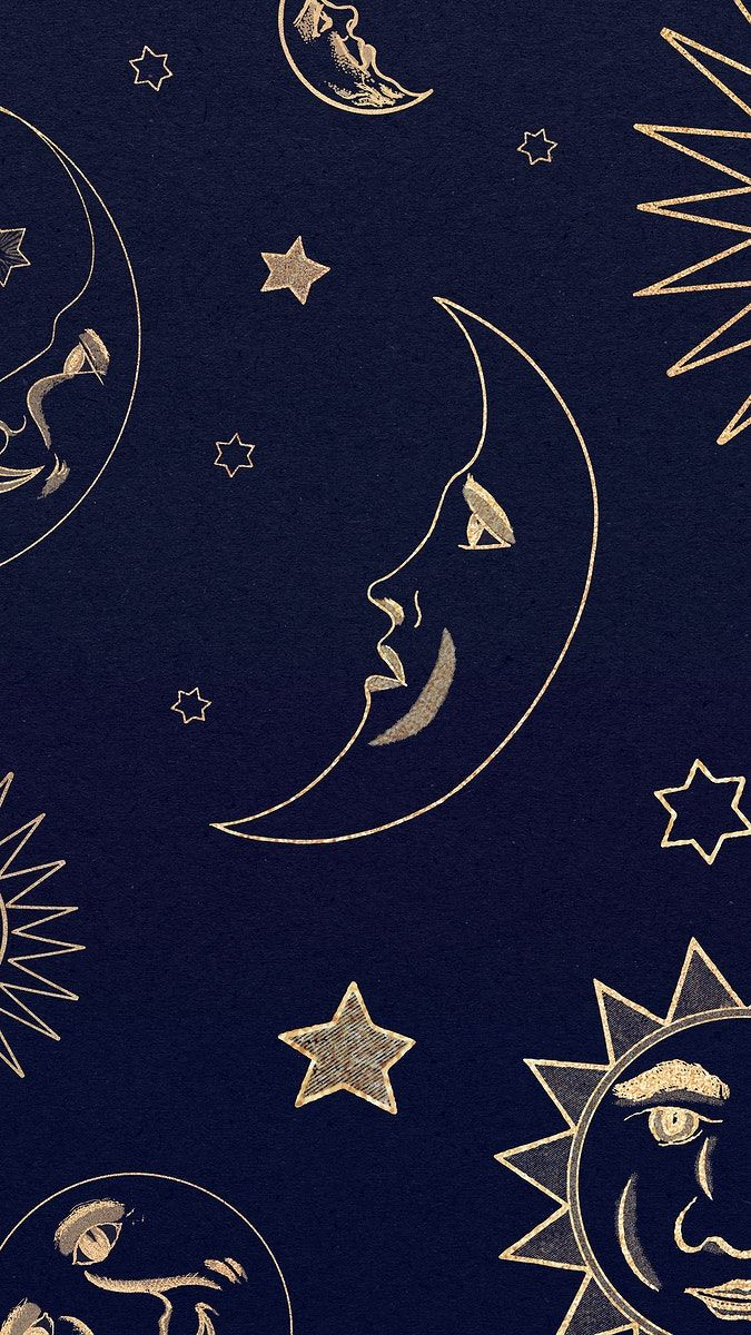 Download free illustration of Gold celestial sun, moon and stars pattern