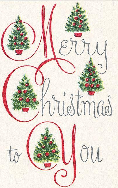 Merry Christmas To You.Vintage Christmas Card Joyeux Noel Merry Christmas