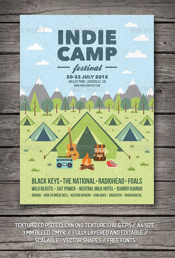 Indie Camp Festival Flyer\/Poster Indie, Authors and Template - camp flyer template