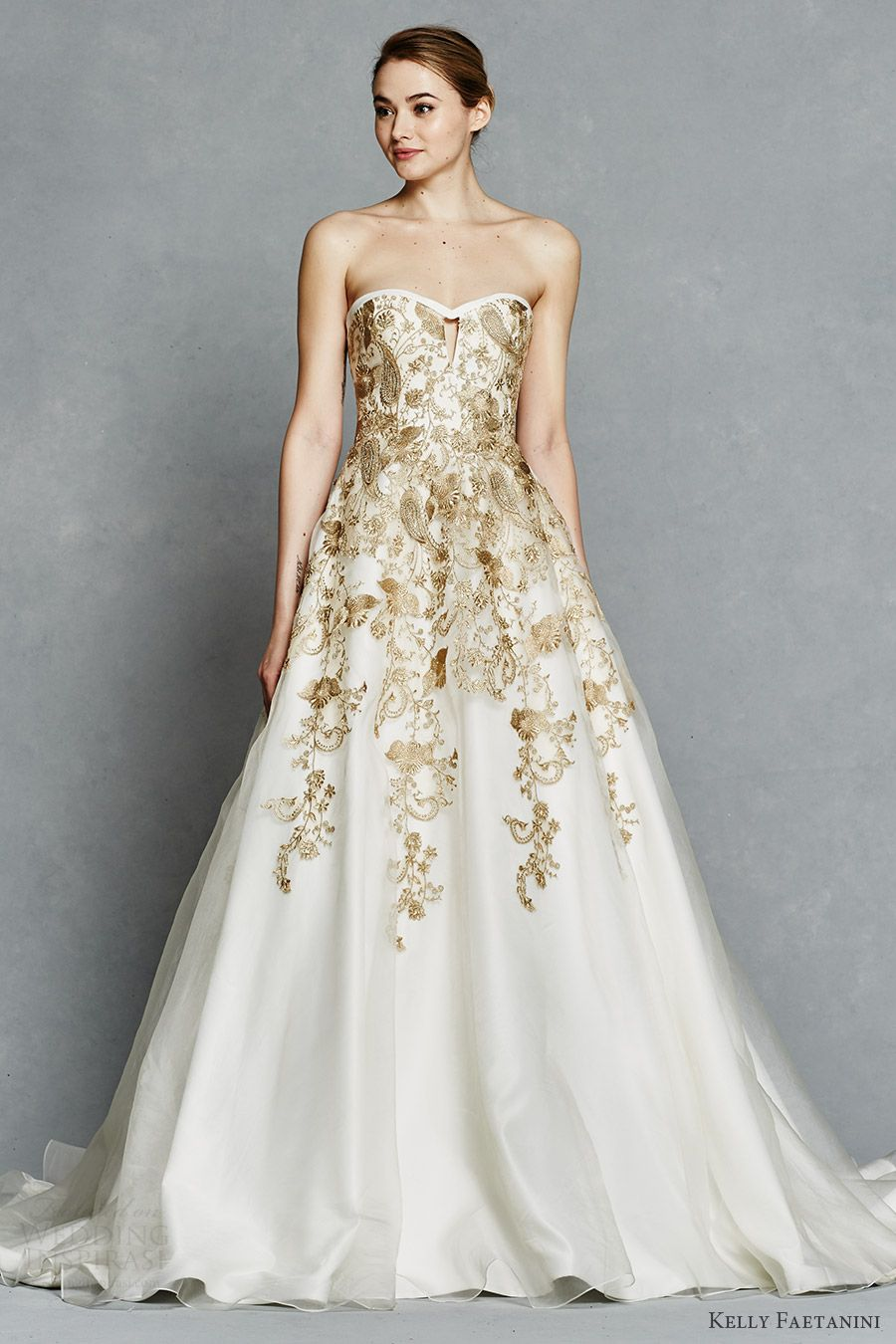 dfb2e2c35 kelly faetanini bridal spring 2017 strapless sweetheart ball gown wedding  dress (leona) mv gold color embroidery pockets