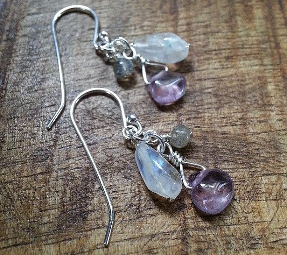 Use coupon code BLACKFRI15 for 15% off your order until Dec 1st.   Amethyst Rainbow Moonstone and Labradorite by AdeniumJewelry, $20.00