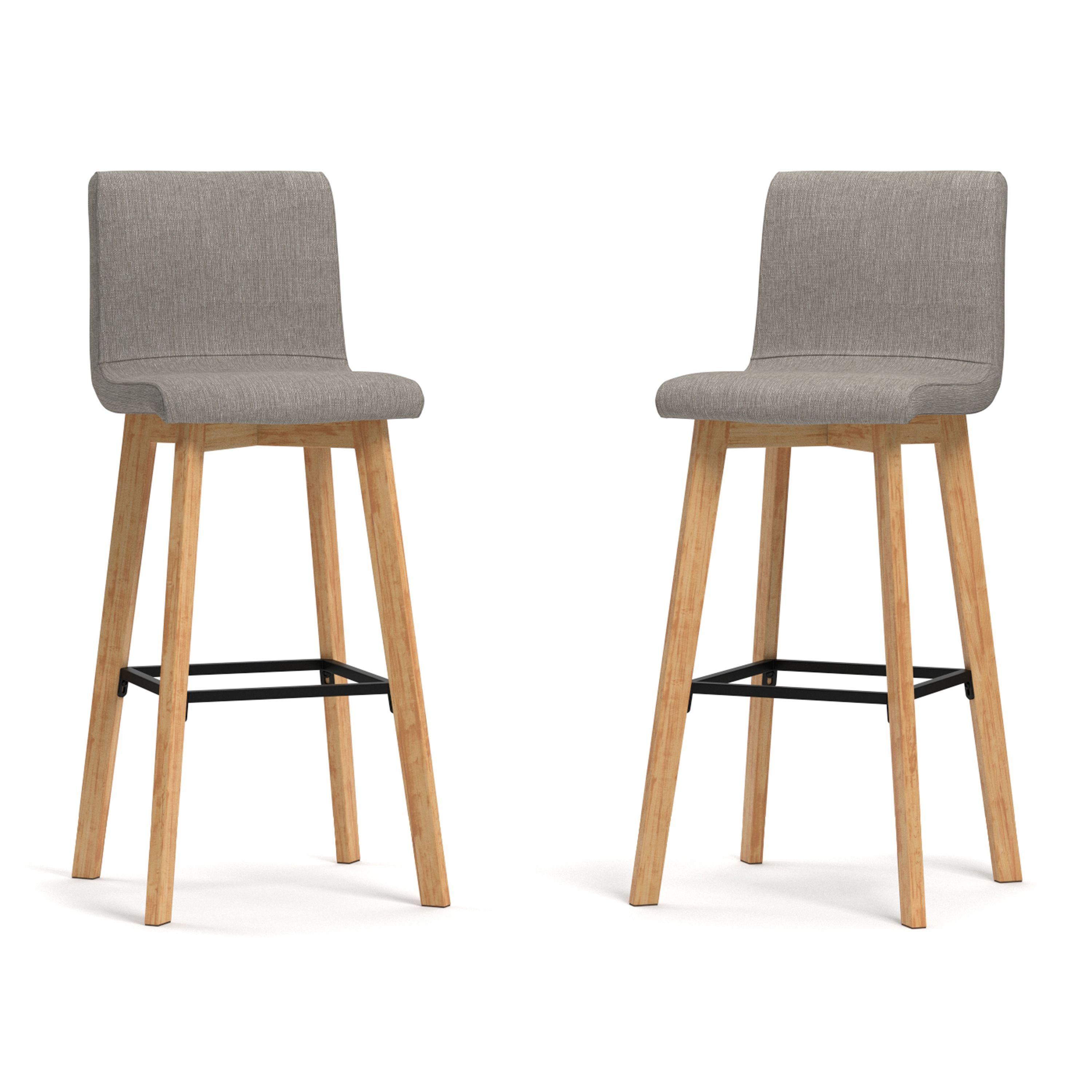 Handy Living Curved Back Dove Grey Linen 30 Inch Bar Stools Set Of