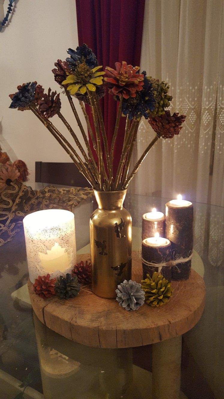 Kozalaklardan çiçek Yapımı Ahşap Mumluk Guvercin Ve çınar Yaprağı