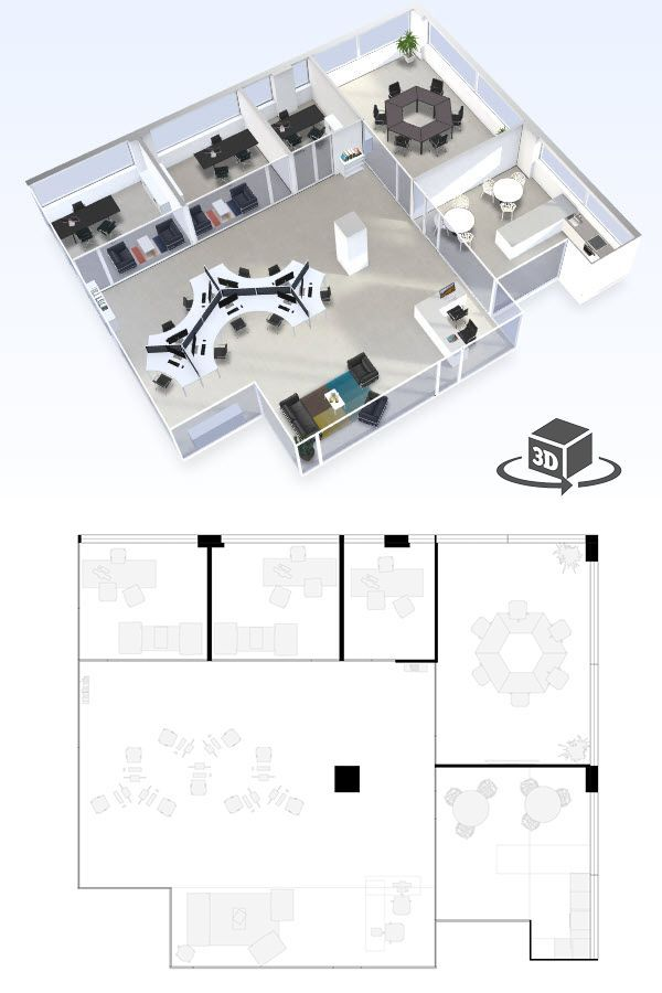 Office Floor Plan In Interactive 3d Get Your Own 3d Model Today At Http Planto3d Com Office Floor Plan Office Layout Plan Commercial And Office Architecture