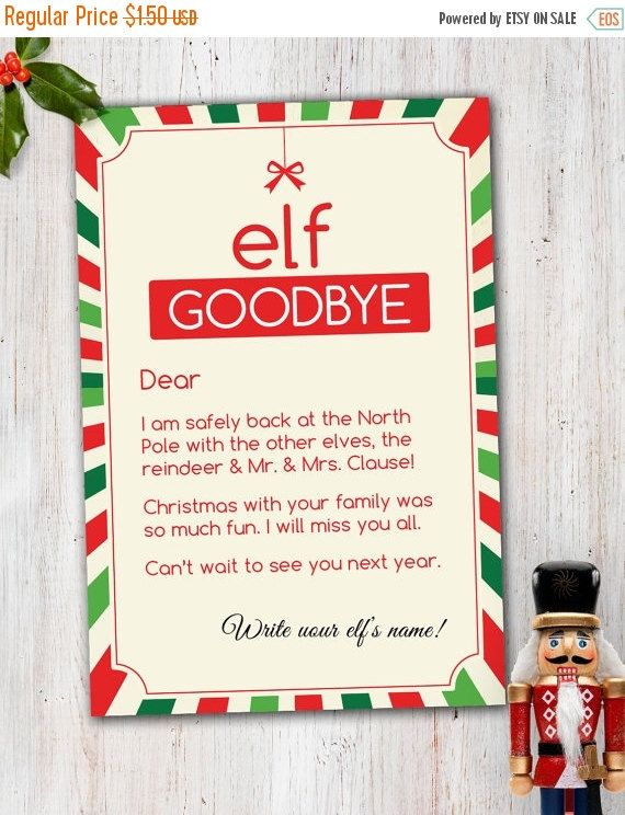 On Sale Magic Elf Goodbye Note  Elf On The Shelf