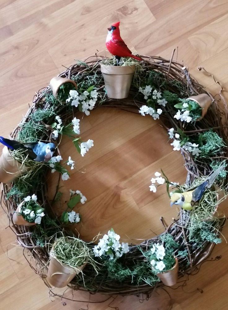 clay pot bird wreath Clay Pot Bird