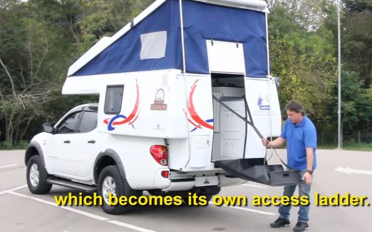 Here's a really awesome DIY Slide On Four Wheel Camper Style