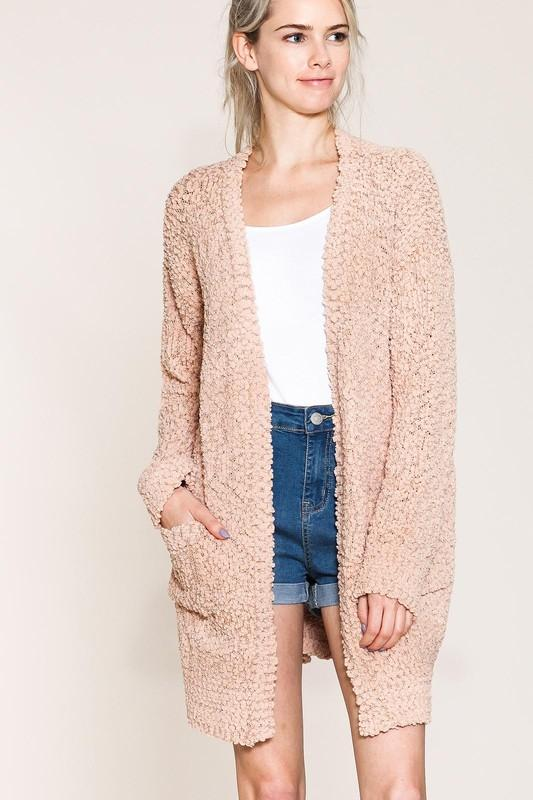 $36 Blush Plush Popcorn Open Cardigan Sweater by Listicle from Divine  Couture Boutique