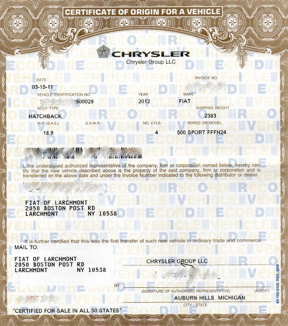 Certificate Of Origin For A Vehicle Template 5