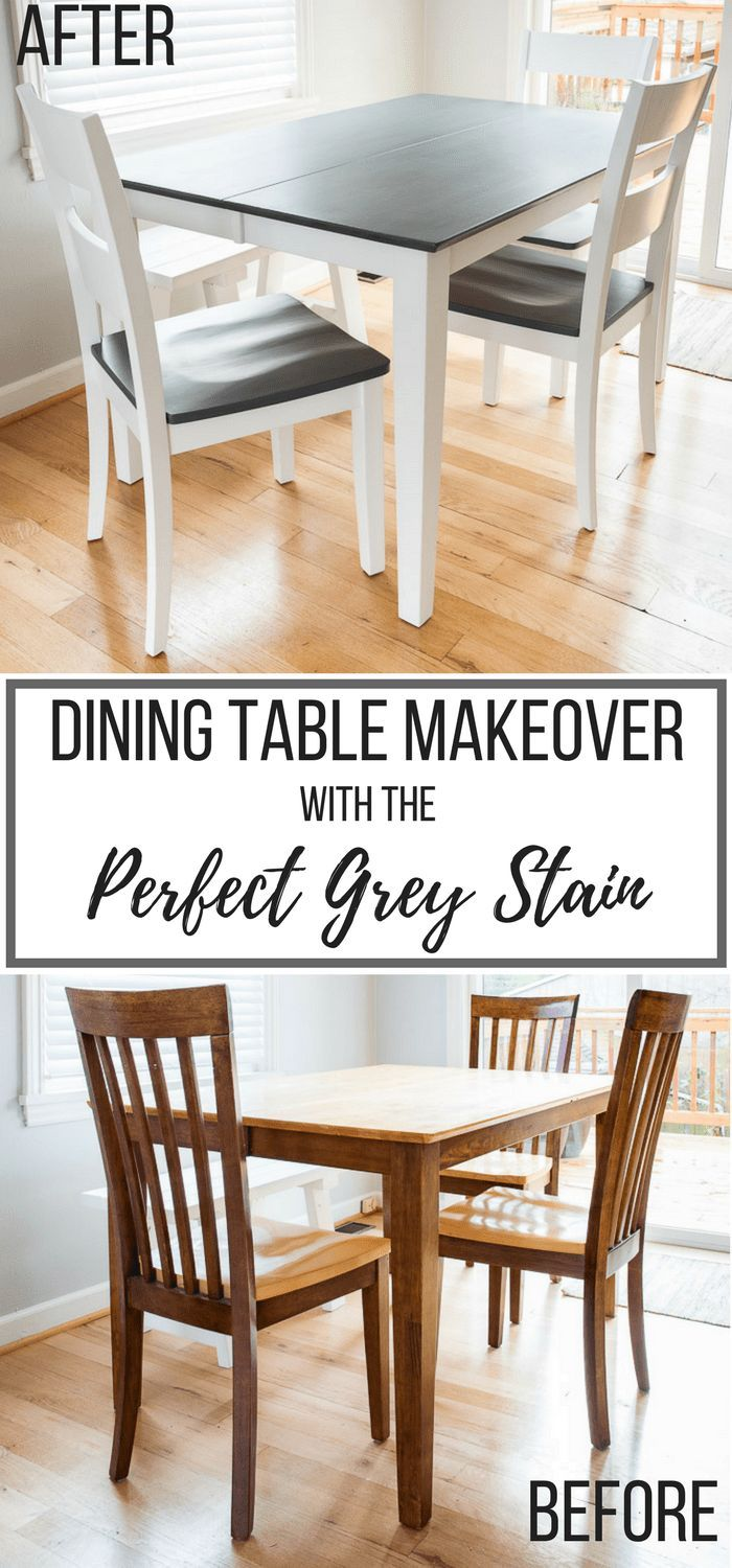 The Perfect Grey Wood Stain Dining Table Makeover Grey Dining Tables Diy Dining Table