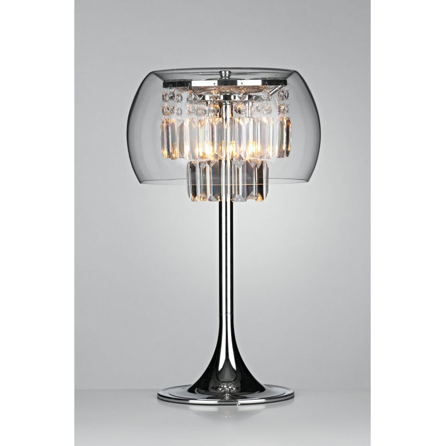 dar dar loco 3 light modern table lamp clear crystal and polished chrome finish - Lamp Shades For Table Lamps