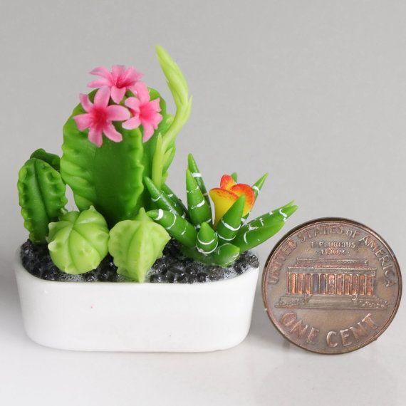 Dollhouse Miniature Cactus Plant Flower Arrangement Bouquet w Pot Air Dried Clay 1:12th (a13)