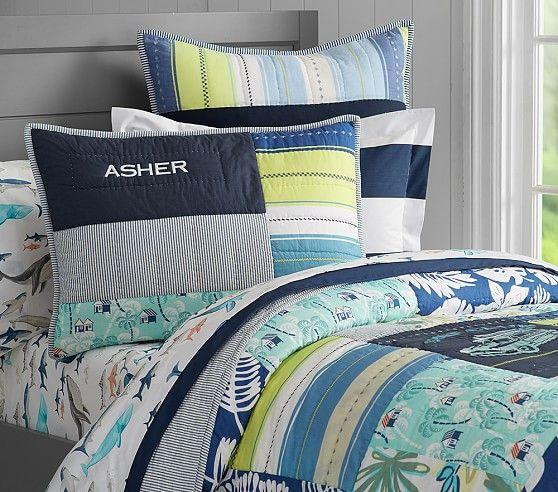 Asher Surf Patch Quilted Standard Sham | Quilt bedding ...