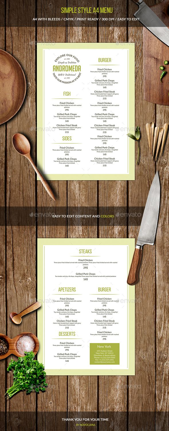 Simple Style A4 Menu Pinterest