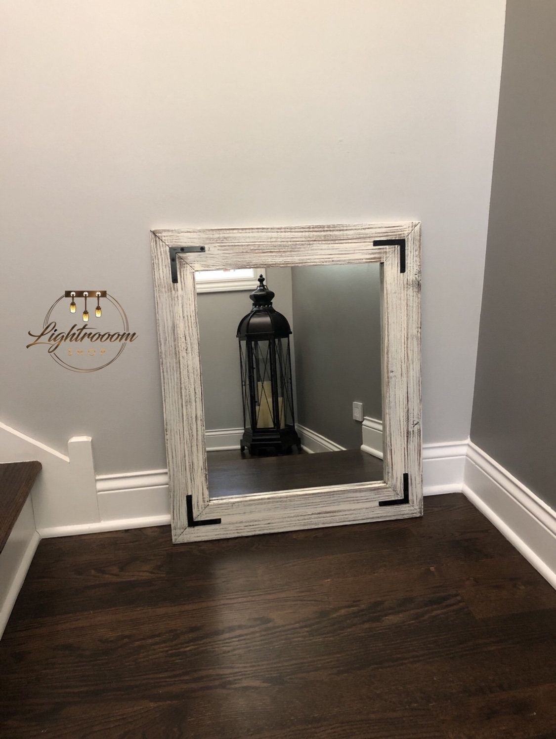 Antique white bathroom wood mirror farmhouse decor