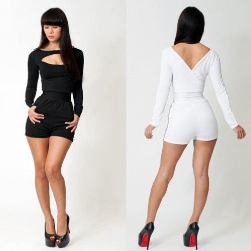 Women S Sexy Hollow Long Sleeves Bandage Bodycon Short Pants Romper